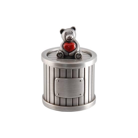 Dacapo Silver - Dosa D4 Cm Med Nalle Och Rött Hjärta På Locket