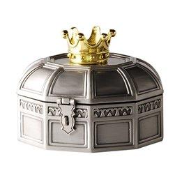 Dacapo Silver - Smyckeskrin Med Förgylld Krona På Locket