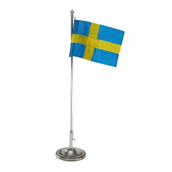 "Dacapo Silver - Dopflaggstång ""Minne Av Dopdagen"" H 30 Cm M Svensk Flagga"
