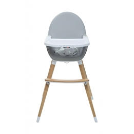 Britton - Matstol - Highchair Fika 2in1 - Light Grey / Natural legs