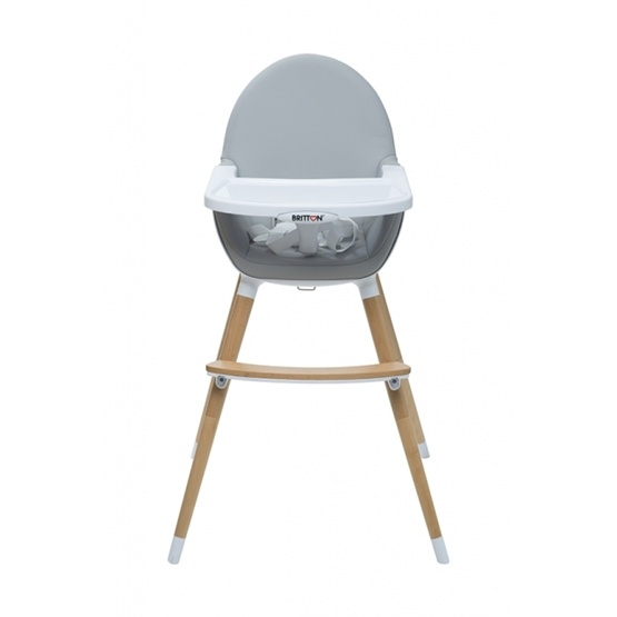 Britton - Matstol - Highchair Fika - Light Grey / Natural legs