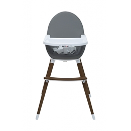 Britton - Matstol - Highchair Fika 2in1 - Dark Grey / Brown legs