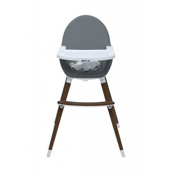 Britton - Matstol - Highchair Fika - Dark Grey / Brown legs