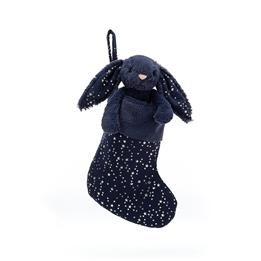 Jellycat - Julstrumpa - Bashful Bunny Stardust (Mörkblå)