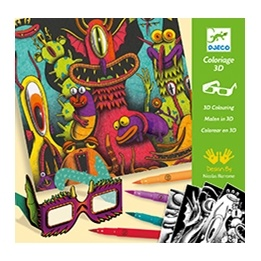Djeco - Målarbilder - Funny Freaks 3D