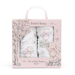 Jellycat - Bashful Pink Bunny - Muslin - Snuttefilt Set