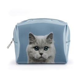 Catseye - Cat On Blue - Large Beauty Bag