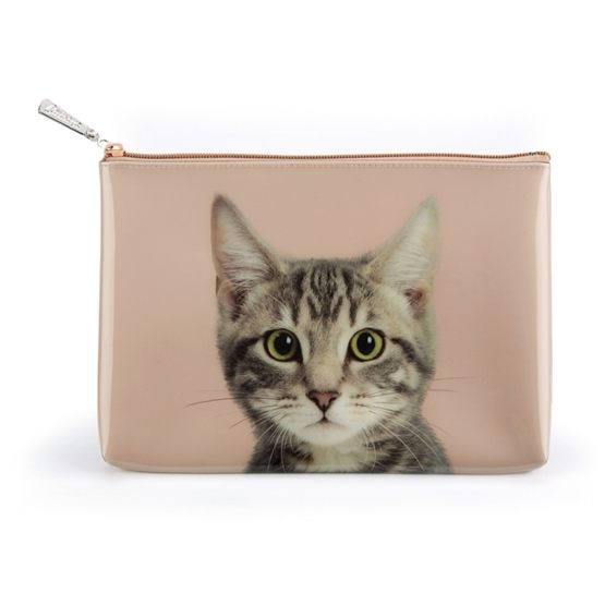 Catseye - Tabby On Taupe - Large Pouch