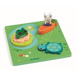 Djeco - Relief Puzzle - 1 - 2 - 3 Froggy