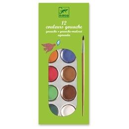 Djeco - Vattenfärg Och Pensel - 12 Färger