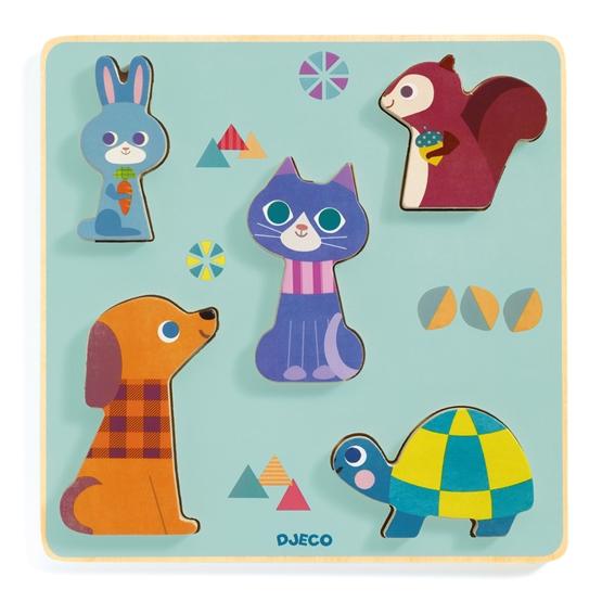 Djeco - Pussel - Moustacha Puzzle, 5 pcs