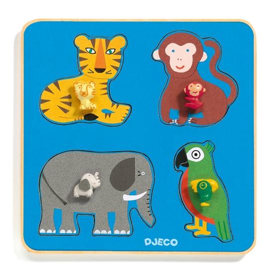 Djeco - Pussel - Family Jungle Puzzle, 4 pcs