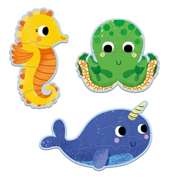 Djeco - Pussel - In The Sea - 4, 6, 9 pcs