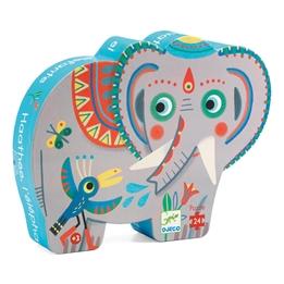 Djeco - Pussel - Siluettepussel, Asian Elephant 24 pcs