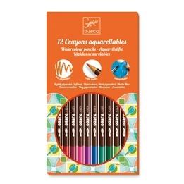 Djeco - 12 Watercolour Crayons - Classic