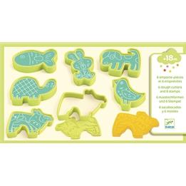 Djeco - Pet Animals, 6 Moulds + 6 Stamps