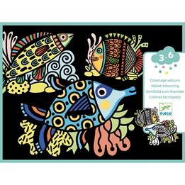 Djeco - Coloring Velvet Pretty Fishes