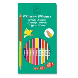 Djeco - 12 Double Pencils, 24 Colours