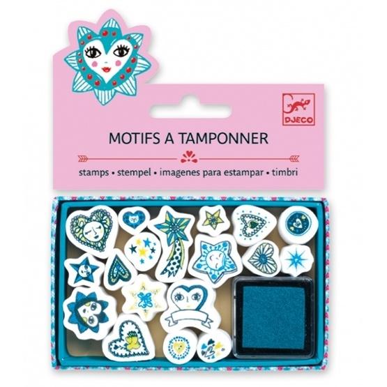 Djeco - Stämplar - Mini Stamps - Hearts And Stars