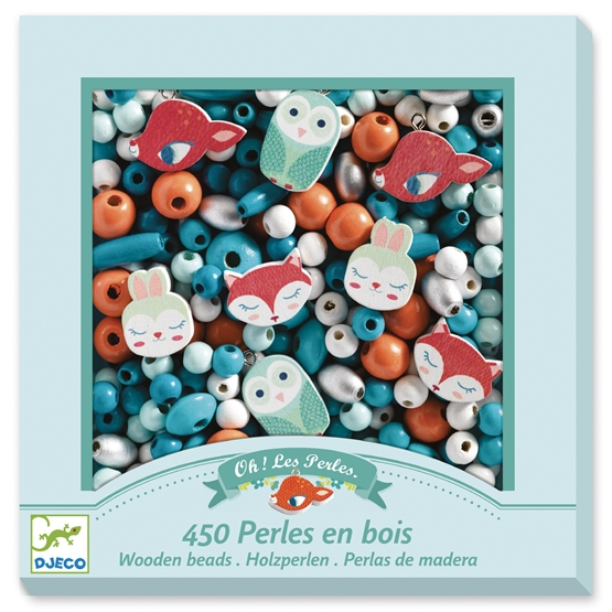 Djeco - Pyssel - Wooden beads, Small animals