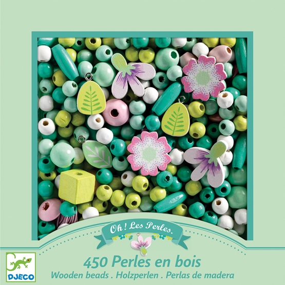 Djeco - Pyssel - Wooden beads, Leaves and flowers