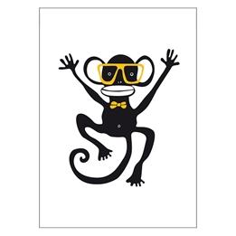 Ejvor - Poster Apa med glasögon Gul
