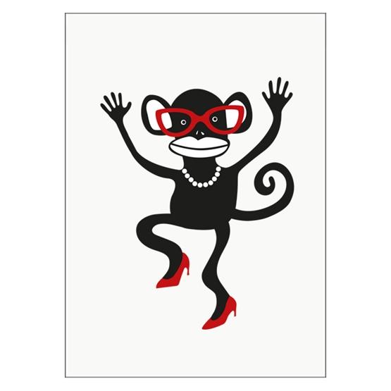 Ejvor - Poster Apa med glasögon röd