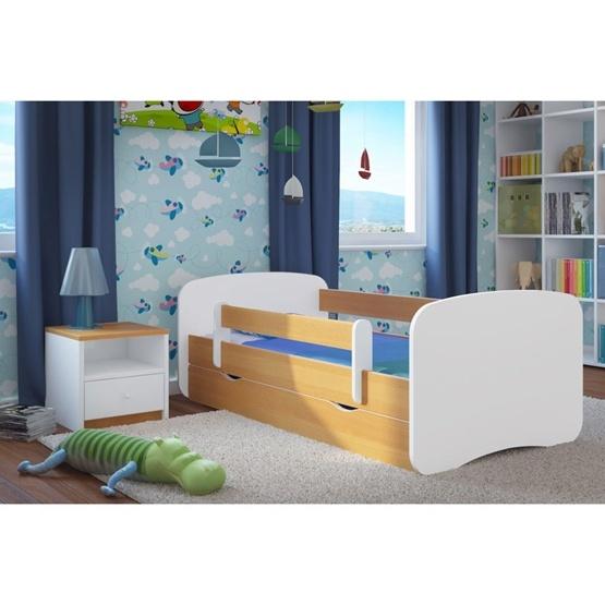 EuroToys - Barnsäng - Naturell med förvaring och madrass 180x80 cm