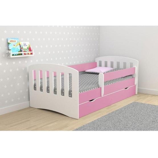 """EuroToys - Barnsäng """"klassisk1"""" rosa med förvaring och madrass 180x80 cm"""