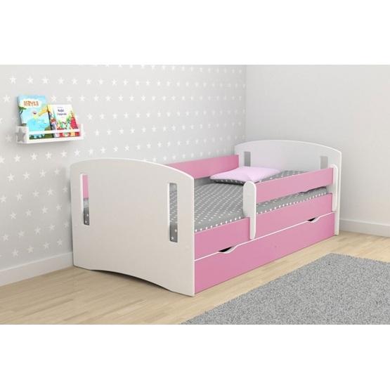 """EuroToys - Barnsäng """"klassisk"""" rosa med förvaring och madrass 180x80 cm"""
