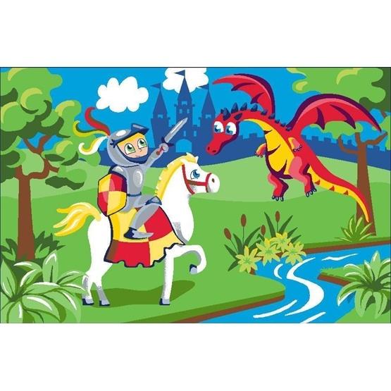EuroToys - Barnmatta - Riddare och Drake - 120 x 80 cm