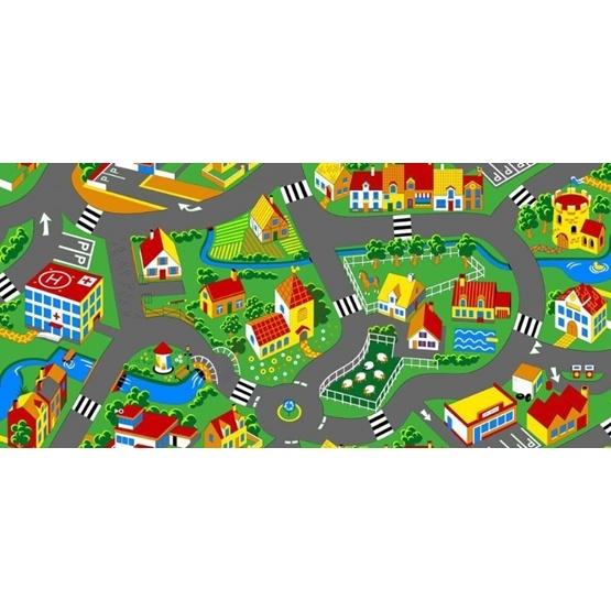 EuroToys - Barnmatta - XL Bilmatta - Stad och Trafik - 140 x 200 cm