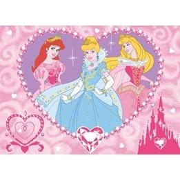 Disney - Barnmatta - Disney Prinsessor - Hjärta - 133 x 95 cm