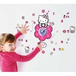 Hello Kitty - Hello Kitty Väggklistermärken Med Väggklocka