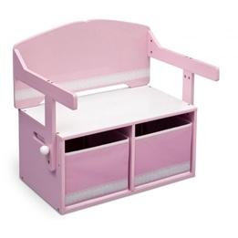 Worlds Apart - 3-i-1 bänk och bord - Rosa/Vit
