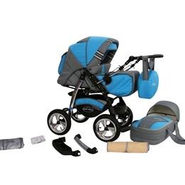 Baby Merc - Agat 2 In 1 kombibarnvagn - Blå/Grå