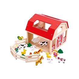 Tooky Toy - BondgårdMed Leksaksdjur I Trä
