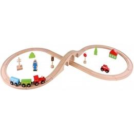 Tooky Toy - Tågbana I Trä - 30 Delar