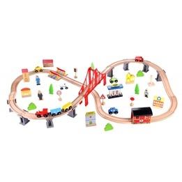 Tooky Toy - Tågbana I Trä Med Tillbehör - 70 Delar
