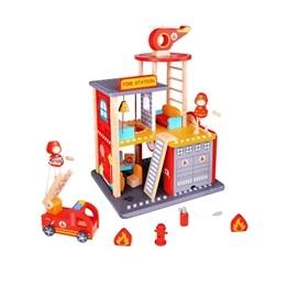 Tooky Toy - Brandstation I Trä Med Tillbehör