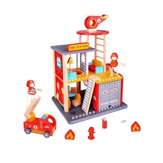Tooky Toy - Brandstation Leksak I Trä Med Tillbehör Tooky Toy