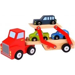 Tooky Toy - Biltransport Med Bilar I Trä
