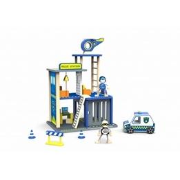 Tooky Toy - Polisstation I Trä Med Tillbehör