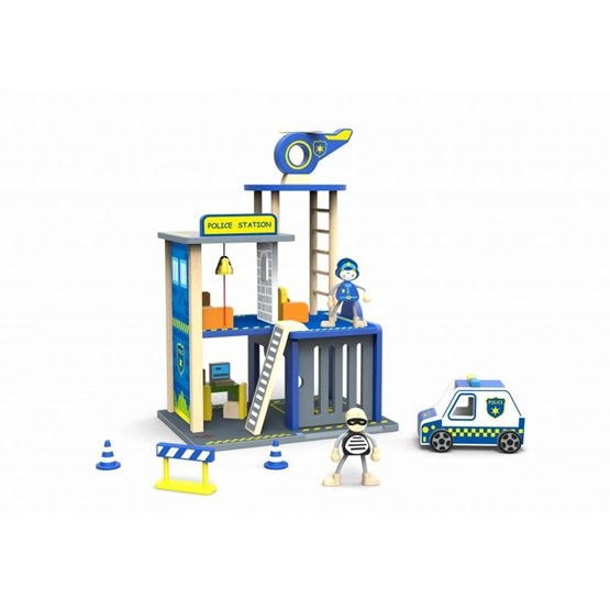 Tooky Toy - Polisstation Leksak I Trä Med Tillbehör Tooky Toy