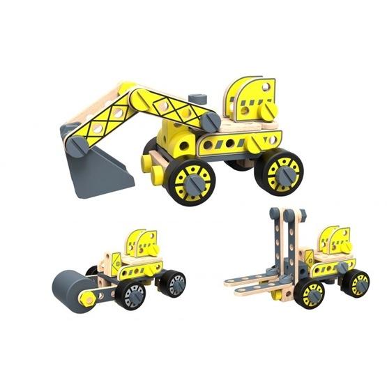 Tooky Toy - Bygg Din Egen Hjullastare, Truck, Rullmaskin Och Grävmaskin