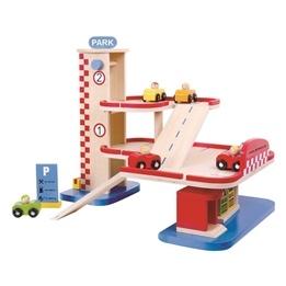 Tooky Toy - Parkeringsgarage Med Bilar I Trä