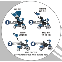 Trehjuling Volare Comfort 4 In 1 (Grå)