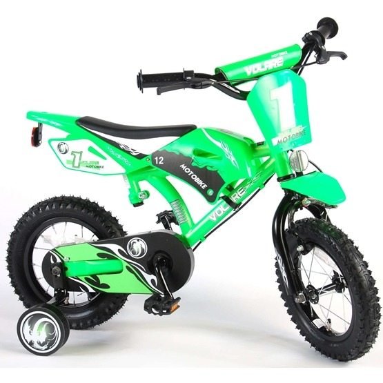 Barncykel Volare Motocross 12 tum - Stödhjul, dubbla handbromsar (Grön)