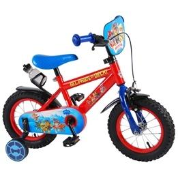 Paw Patrol Barncykel 12 tum - Stödhjul, flaskhållare (Röd/Blå)