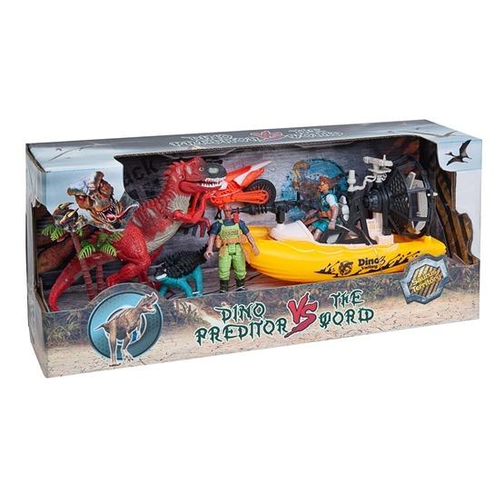 Lekset med dinosaurier, figurer & båt